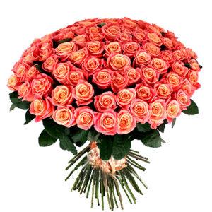 Букет розовых роз 50 см -101 роза