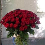 Букет 101 роза красная Гранд При 80 см
