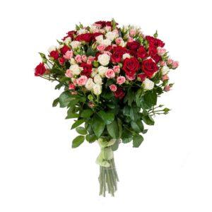 Роза спрей МИКС букет 20 шт 40 см