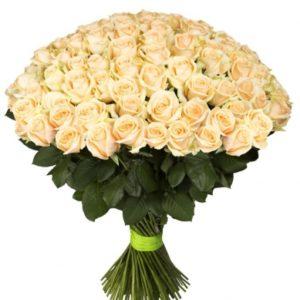 Букет кремовых роз Пич Аваланж 70 см -101 шт