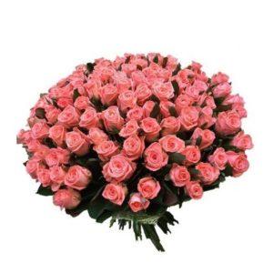 Роза розовая Карина букет 101 шт 100 см