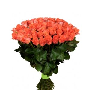 Букет оранжевых роз Вау 70 см -101 шт