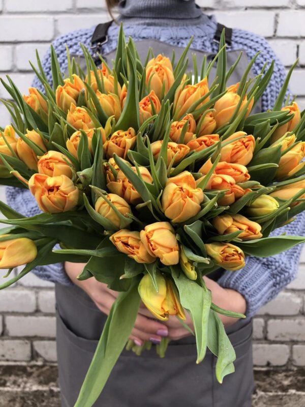 Тюльпаны оранжевый пионовидный букет 19 шт
